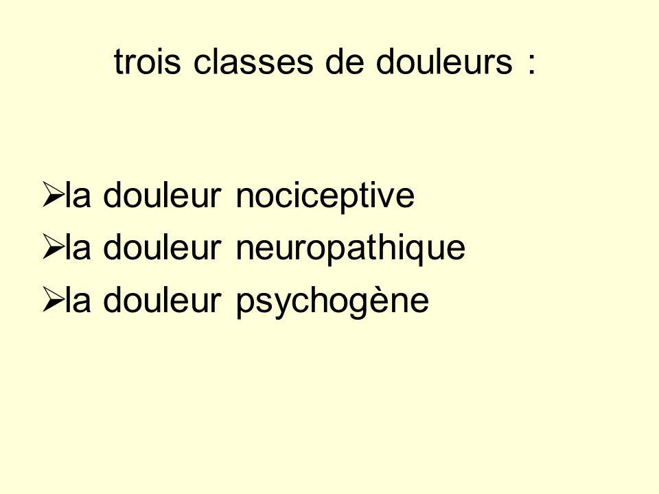 trois classes de douleurs :
