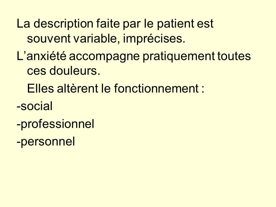 La description faite par le patient est souvent variable, imprécises.