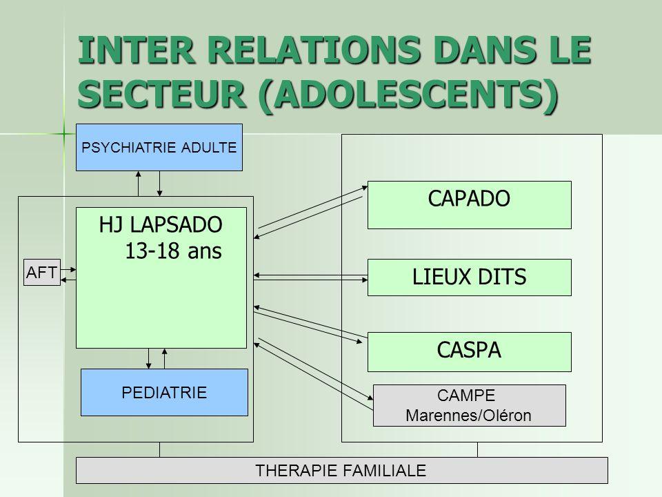 INTER RELATIONS DANS LE SECTEUR (ADOLESCENTS)