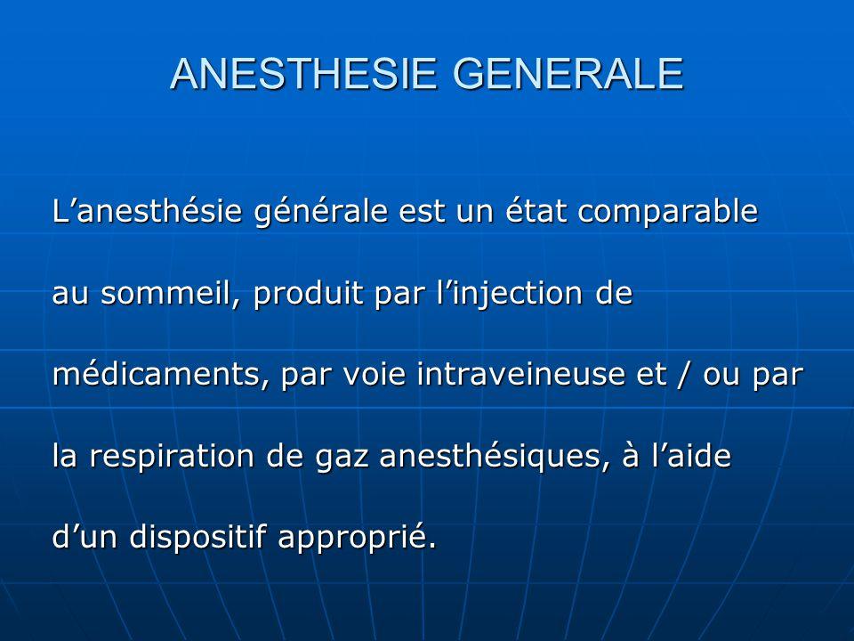 ANESTHESIE GENERALE L'anesthésie générale est un état comparable