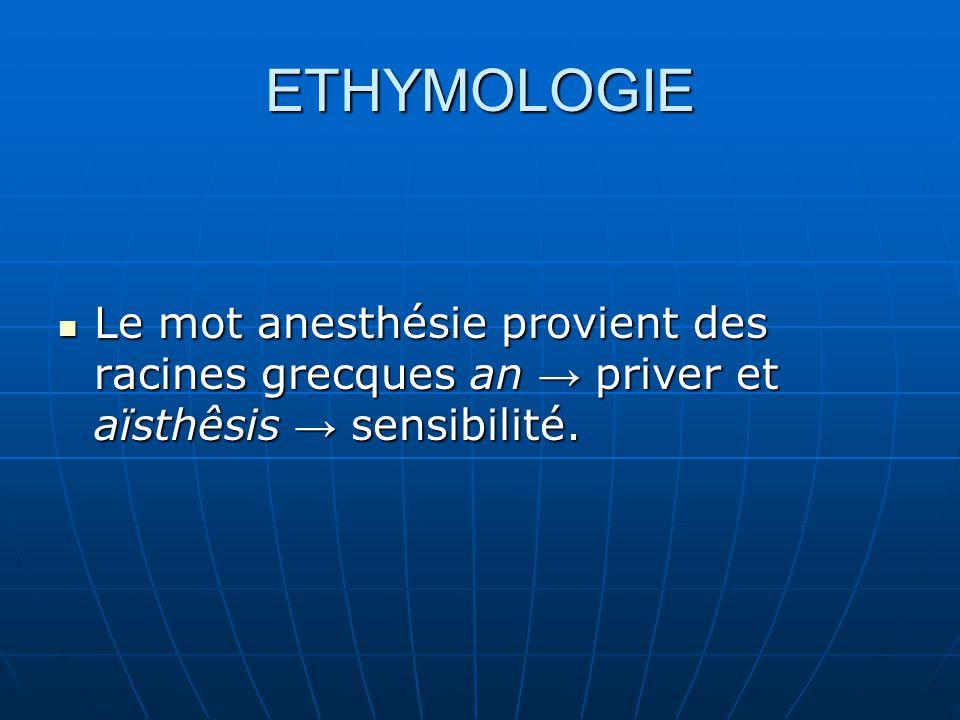 ETHYMOLOGIE Le mot anesthésie provient des racines grecques an → priver et aïsthêsis → sensibilité.