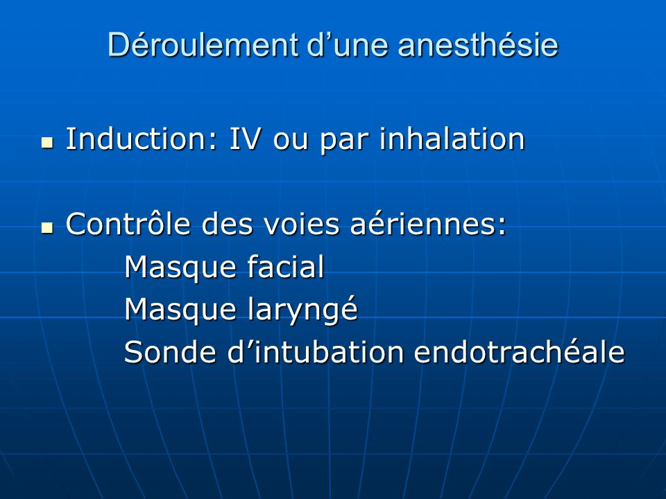 Déroulement d'une anesthésie