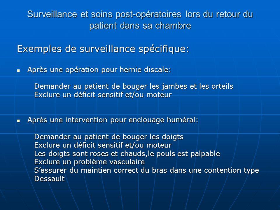Exemples de surveillance spécifique: