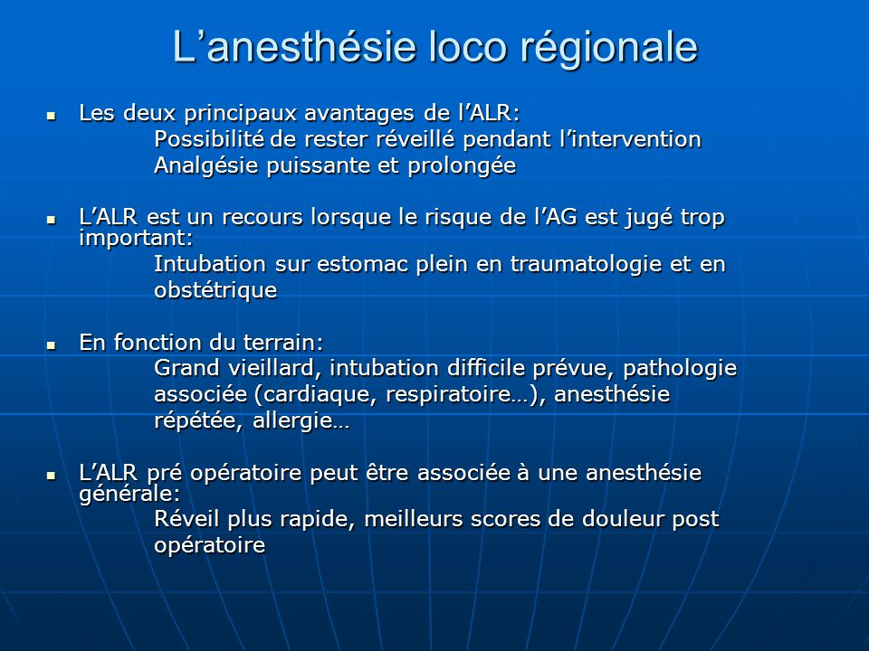 L'anesthésie loco régionale