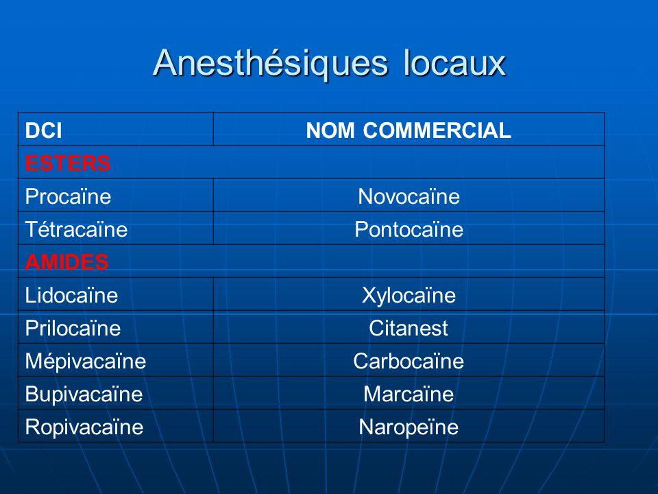 Anesthésiques locaux DCI NOM COMMERCIAL ESTERS Procaïne Novocaïne