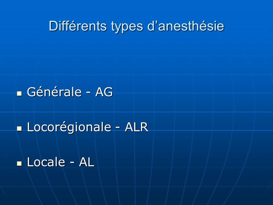 Différents types d'anesthésie