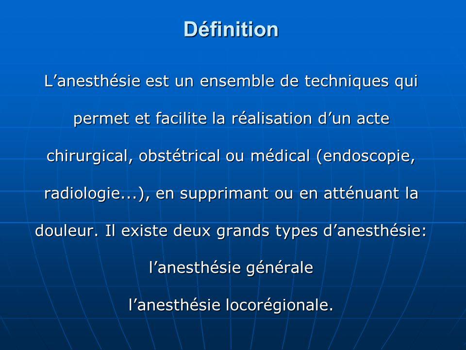 Définition L'anesthésie est un ensemble de techniques qui