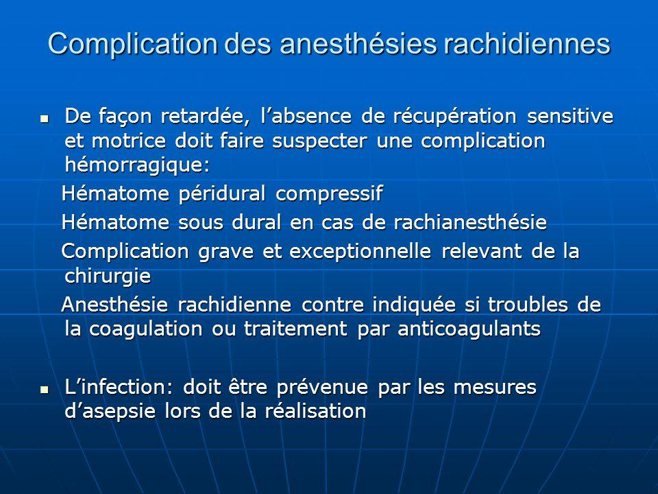 Complication des anesthésies rachidiennes