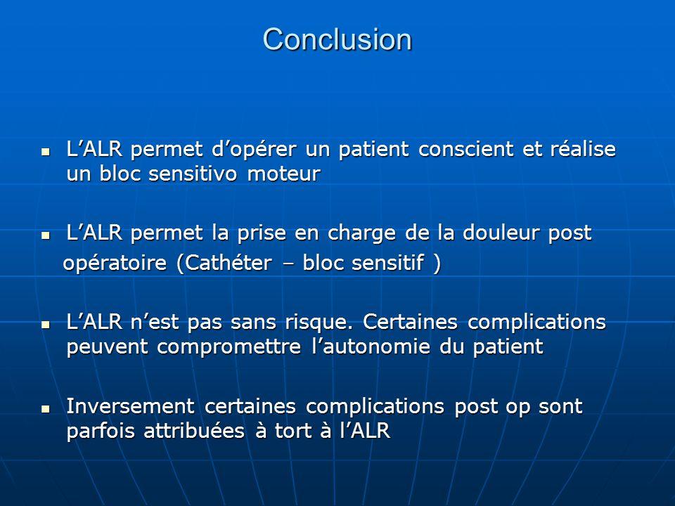 Conclusion L'ALR permet d'opérer un patient conscient et réalise un bloc sensitivo moteur. L'ALR permet la prise en charge de la douleur post.