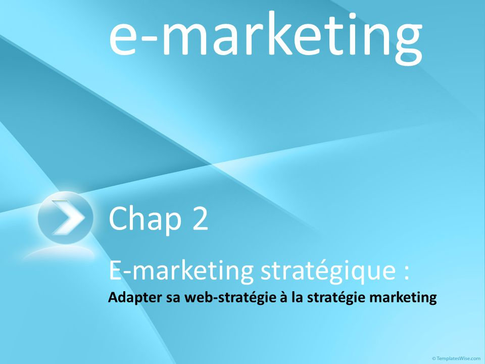 e-marketing Chap 2 E-marketing stratégique : Adapter sa web-stratégie à la stratégie marketing