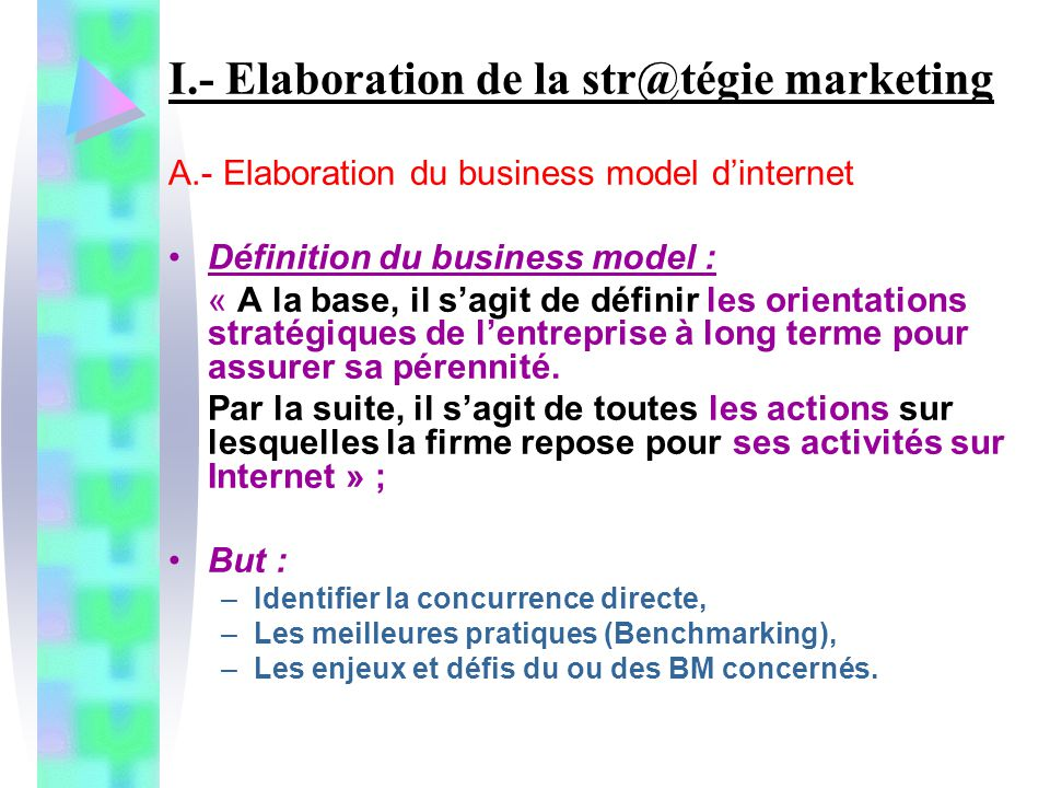 I.- Elaboration de la str@tégie marketing