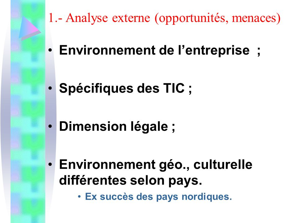 1.- Analyse externe (opportunités, menaces)