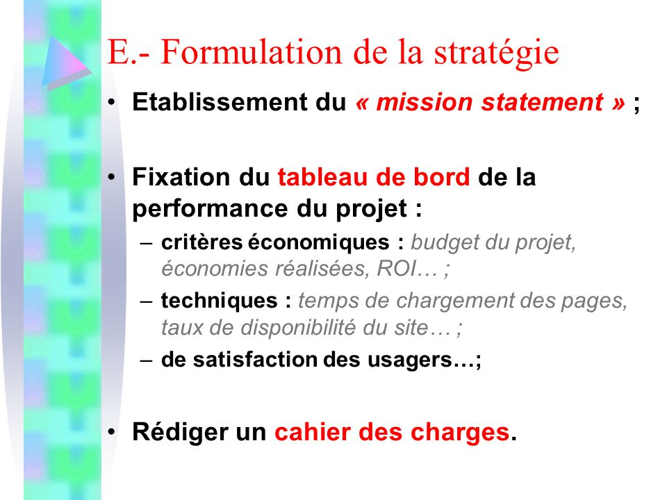 E.- Formulation de la stratégie