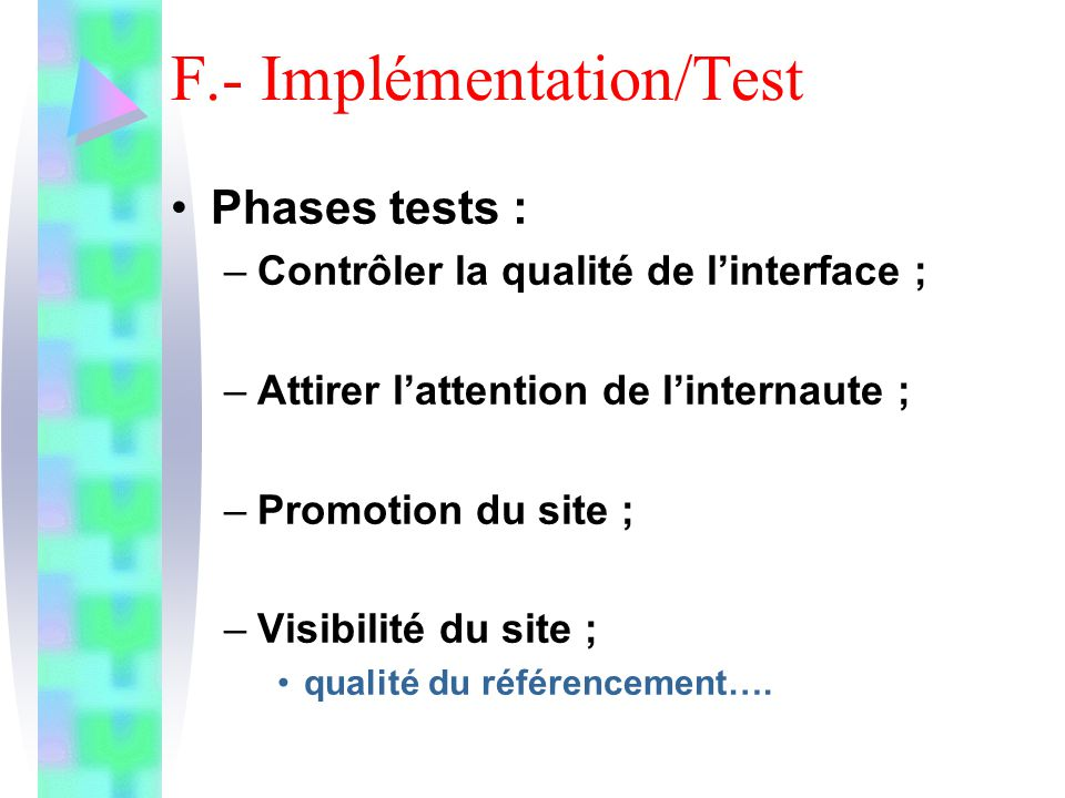 F.- Implémentation/Test