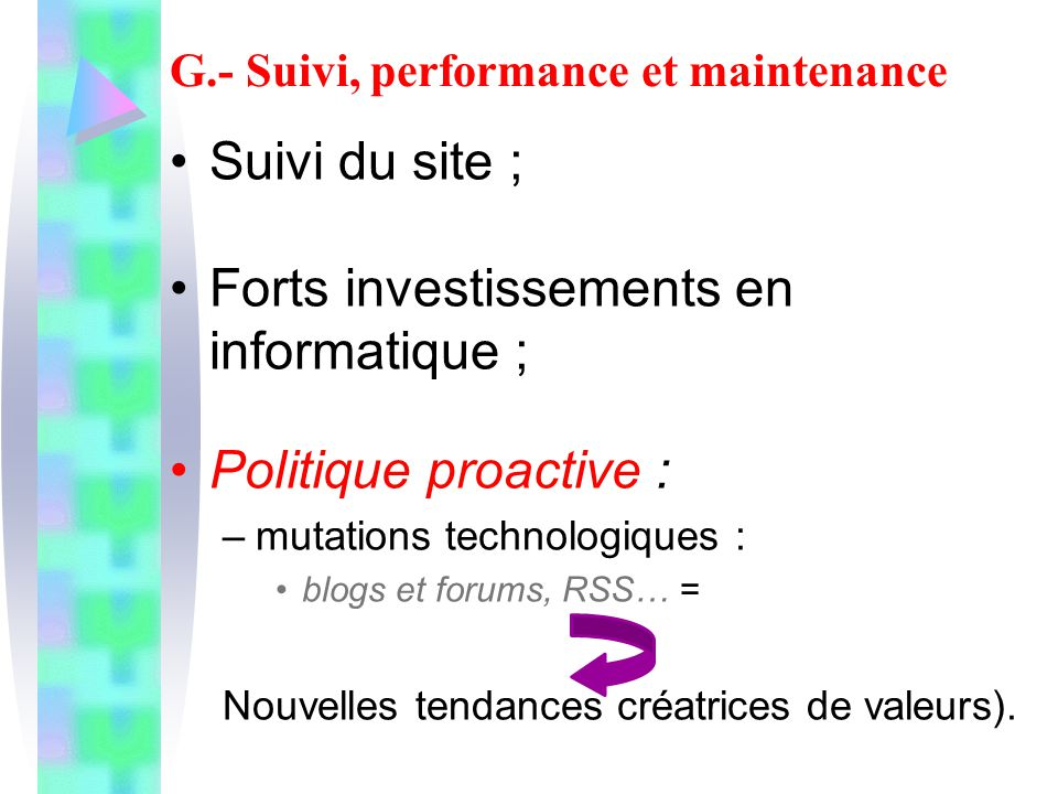 G.- Suivi, performance et maintenance