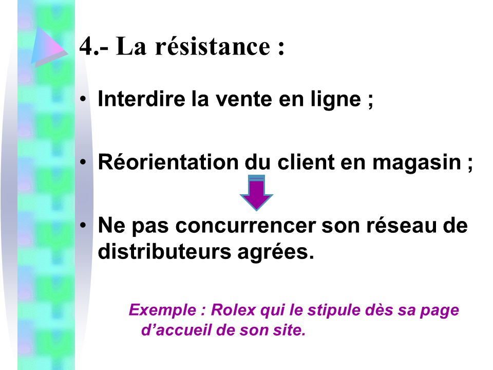 4.- La résistance : Interdire la vente en ligne ;