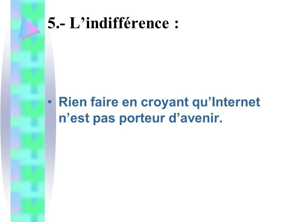 5.- L'indifférence : Rien faire en croyant qu'Internet n'est pas porteur d'avenir.