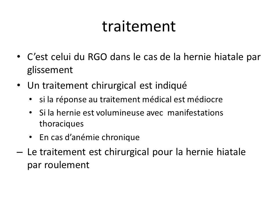 traitement C'est celui du RGO dans le cas de la hernie hiatale par glissement. Un traitement chirurgical est indiqué.