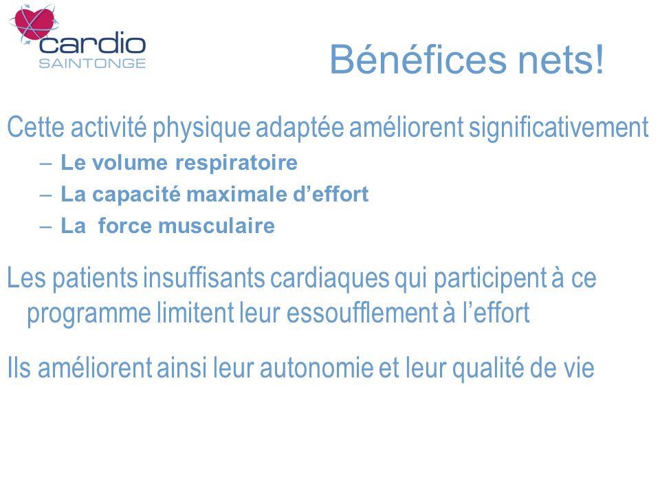Bénéfices nets! Cette activité physique adaptée améliorent significativement. Le volume respiratoire.