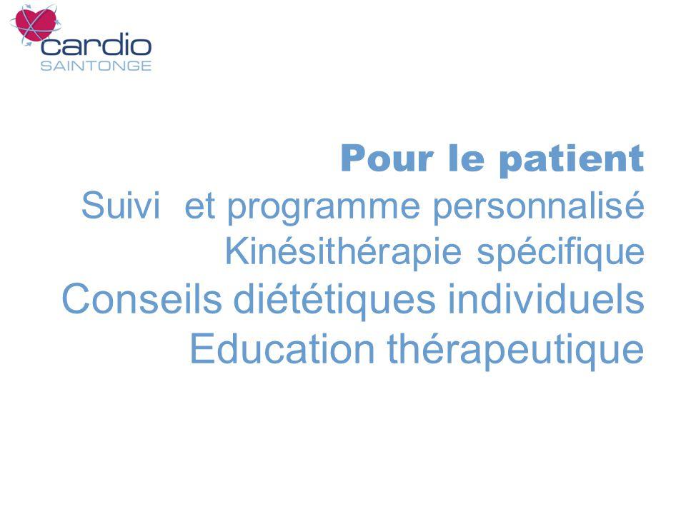 Pour le patient Suivi et programme personnalisé Kinésithérapie spécifique Conseils diététiques individuels Education thérapeutique
