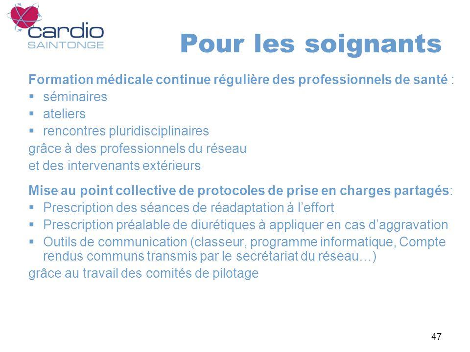 Pour les soignants Formation médicale continue régulière des professionnels de santé : séminaires.