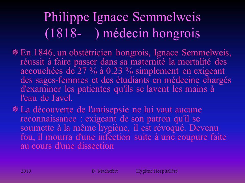 Philippe Ignace Semmelweis (1818- ) médecin hongrois