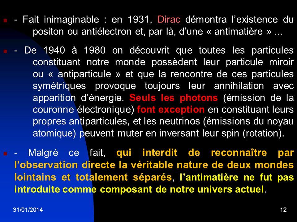- Fait inimaginable : en 1931, Dirac démontra l'existence du