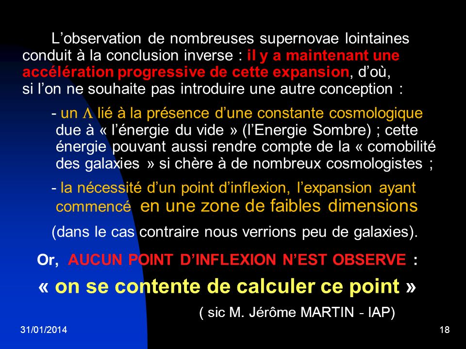 « on se contente de calculer ce point »