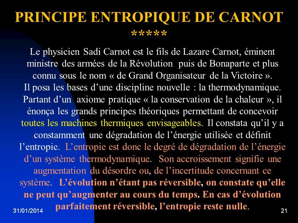 PRINCIPE ENTROPIQUE DE CARNOT
