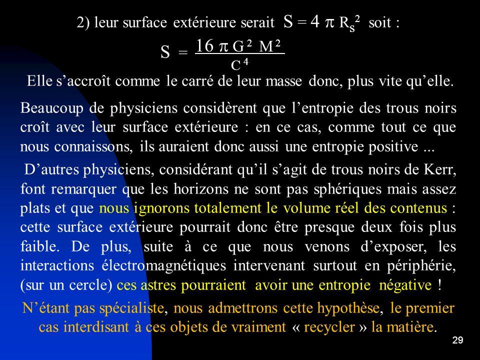 16 p G 2 M 2 2) leur surface extérieure serait S = 4 p Rs2 soit : S =