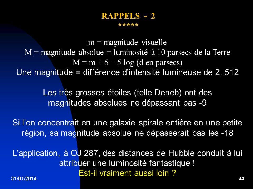 M = magnitude absolue = luminosité à 10 parsecs de la Terre