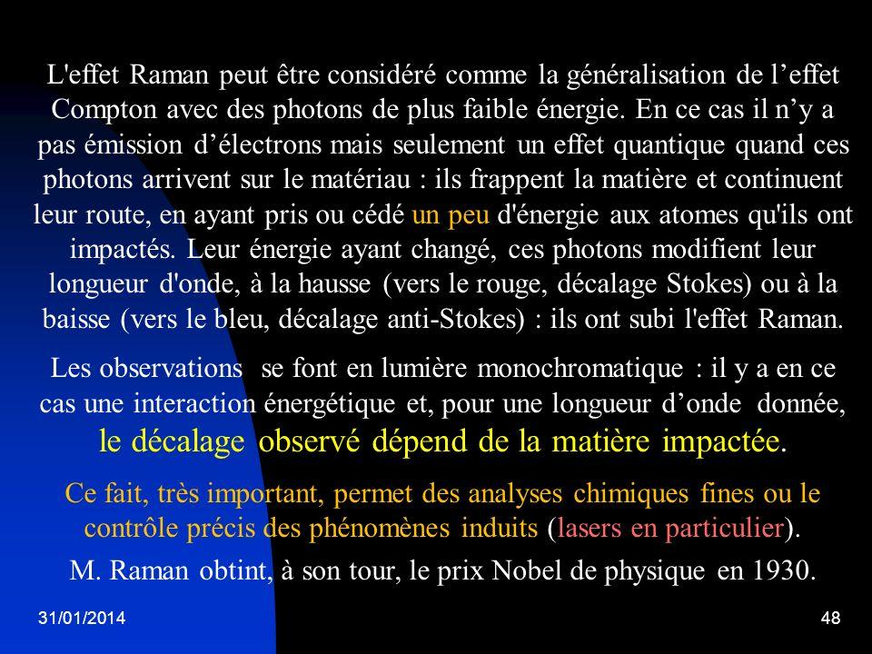 M. Raman obtint, à son tour, le prix Nobel de physique en 1930.