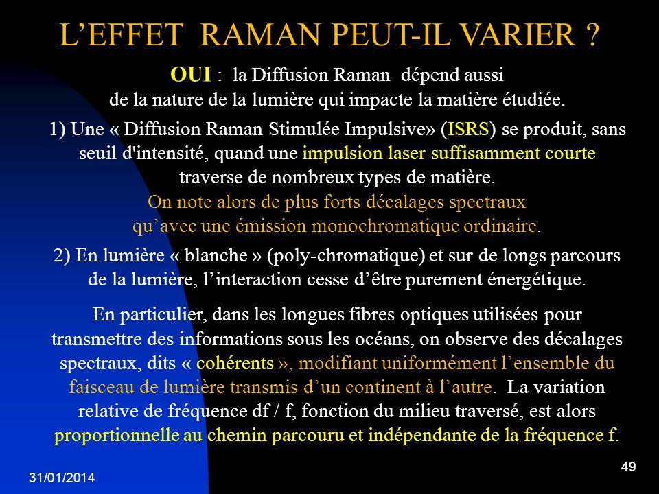 L'EFFET RAMAN PEUT-IL VARIER