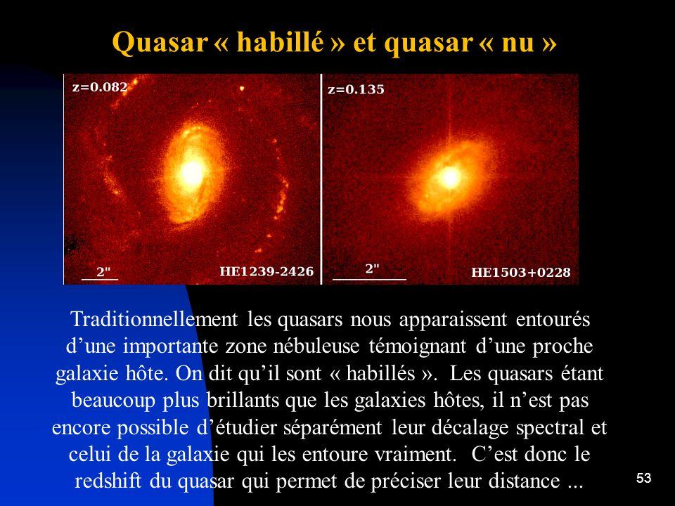Quasar « habillé » et quasar « nu »
