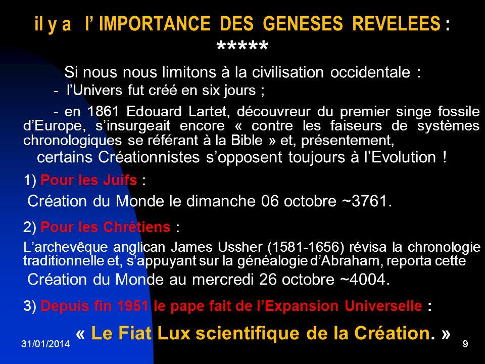 il y a l' IMPORTANCE DES GENESES REVELEES :
