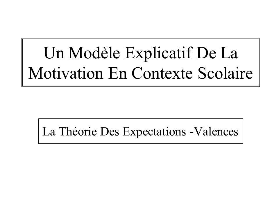 Un Modèle Explicatif De La Motivation En Contexte Scolaire