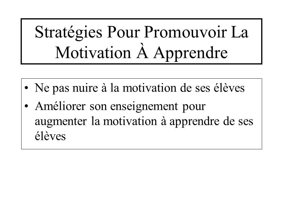 Stratégies Pour Promouvoir La Motivation À Apprendre