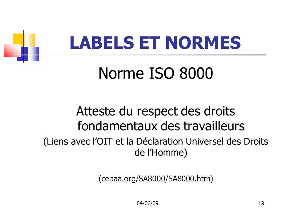 LABELS ET NORMES Norme ISO 8000