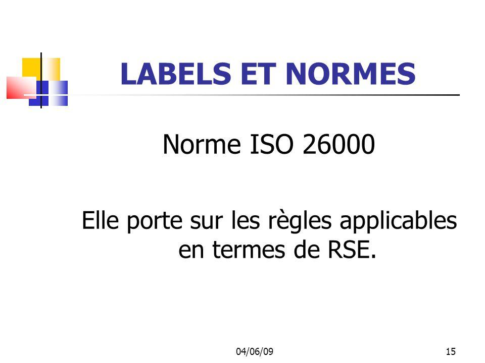 Elle porte sur les règles applicables en termes de RSE.