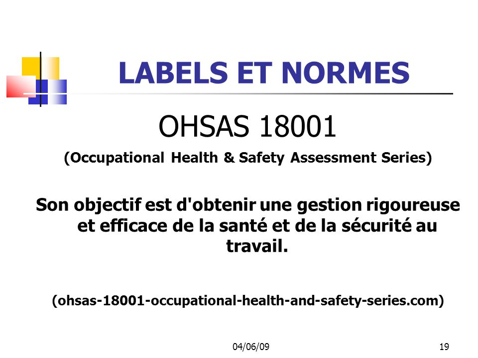LABELS ET NORMES OHSAS 18001. (Occupational Health & Safety Assessment Series)