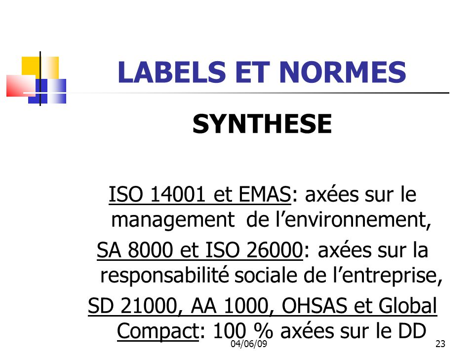 LABELS ET NORMES SYNTHESE