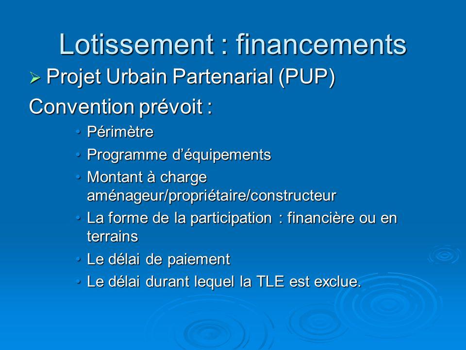 Lotissement : financements