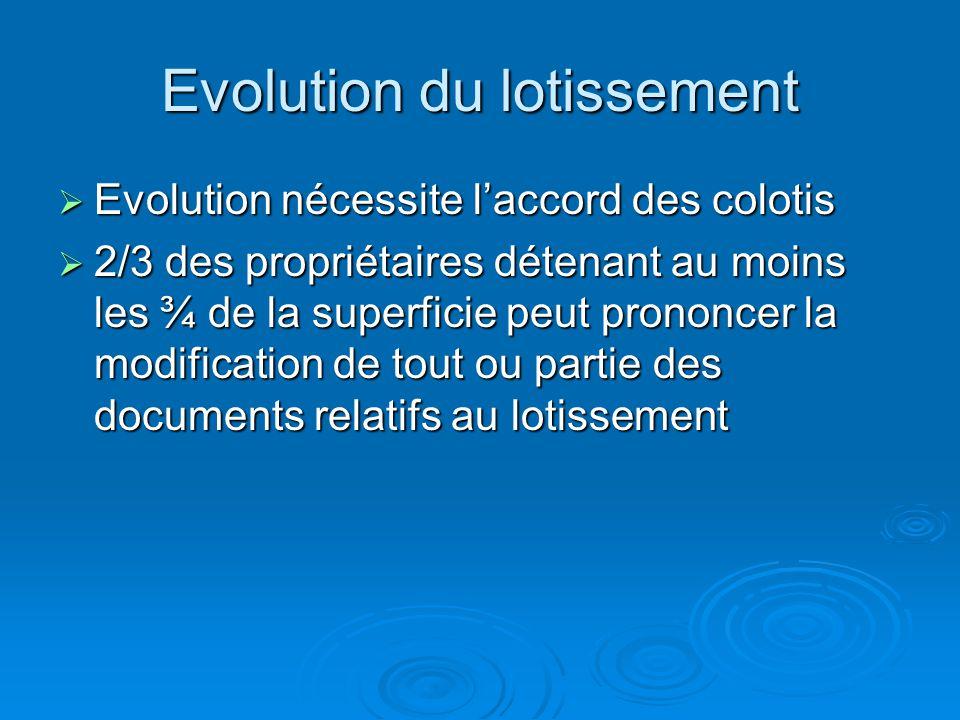 Evolution du lotissement