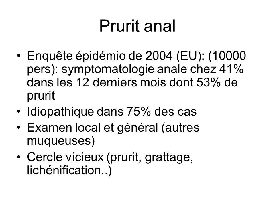 Prurit anal Enquête épidémio de 2004 (EU): (10000 pers): symptomatologie anale chez 41% dans les 12 derniers mois dont 53% de prurit.