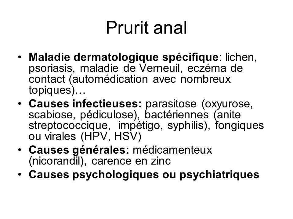 Prurit anal Maladie dermatologique spécifique: lichen, psoriasis, maladie de Verneuil, eczéma de contact (automédication avec nombreux topiques)…