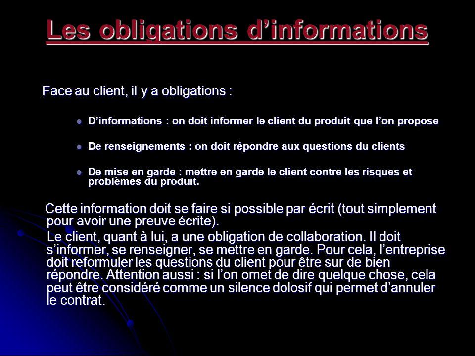 Les obligations d'informations