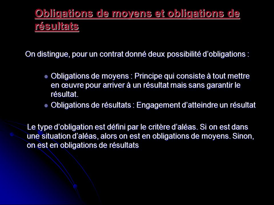 Obligations de moyens et obligations de résultats