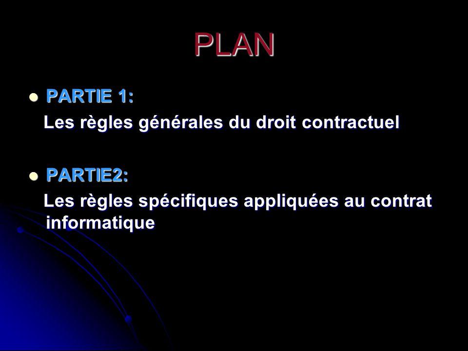 PLAN PARTIE 1: Les règles générales du droit contractuel PARTIE2: