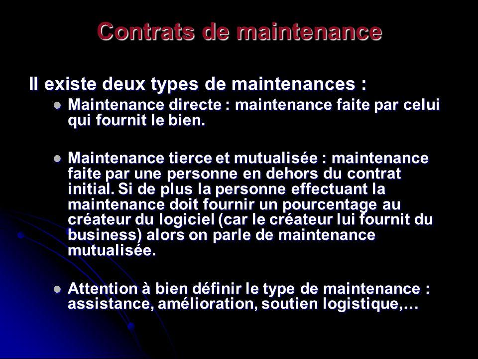Contrats de maintenance