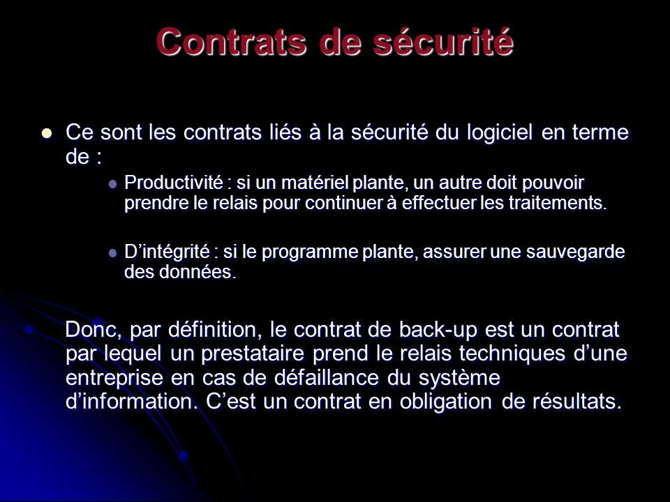 Contrats de sécurité Ce sont les contrats liés à la sécurité du logiciel en terme de :
